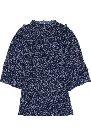 Cora Floral Print Pleated Chiffon Top by Saloni