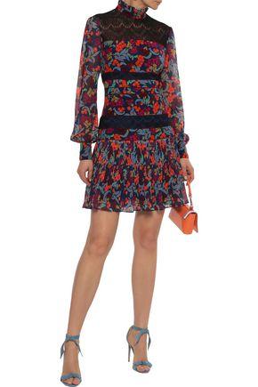 SALONI Dina lace-paneled printed washed-silk mini dress