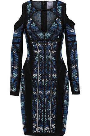 HERVÉ LÉGER Kara cold-shoulder cutout jacquard-knit mini dress