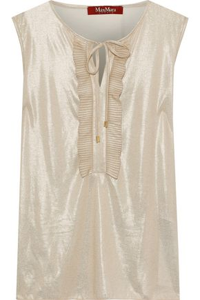MAX MARA Pico bow-detailed metallic jersey top