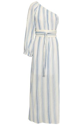 VANESSA BRUNO One-shoulder striped cotton-gauze maxi dress