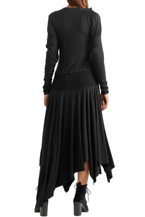 PREEN LINE Estela asymmetric ruched stretch-cotton jersey midi dress
