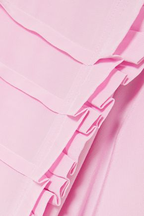 PREEN LINE Pleated crepe de chine blouse