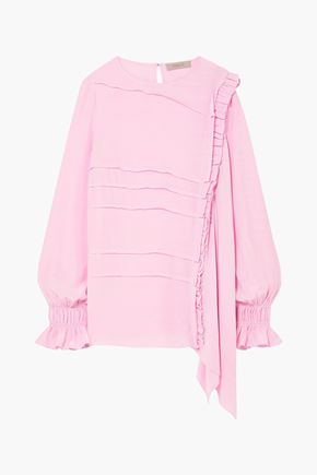 PREEN LINE Pleated crepe de chine blouse