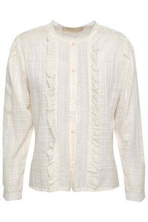 VANESSA BRUNO Ruffled embroidered cotton-blend blouse
