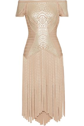 HERVÉ LÉGER Off-the-shoulder fringed metallic printed bandage dress