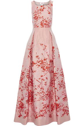 MAX MARA Lesena tulle-paneled pleated floral-jacquard gown