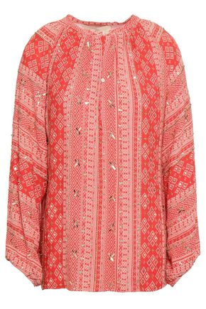 VANESSA BRUNO Giovane sequined printed crepe blouse