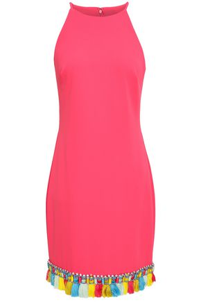 BADGLEY MISCHKA Tasseled embellished cady mini dress