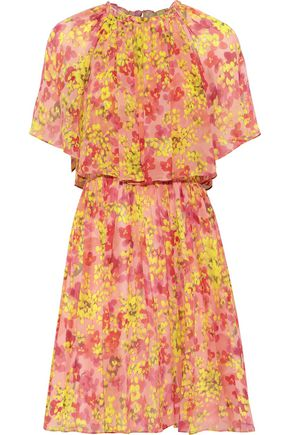 MAX MARA Layered floral-print silk-georgette mini dress