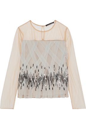 MAX MARA Nastie embellished chiffon and tulle top