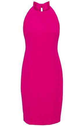 BADGLEY MISCHKA Open-back bow-embellished cady mini dress