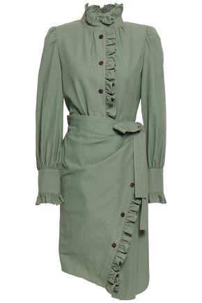 GOEN.J Layered ruffle-trimmed cotton-twill dress