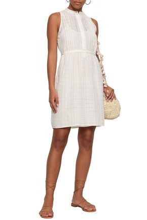 VANESSA BRUNO Igera lace-trimmed embroidered cotton-blend mini dress