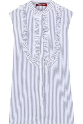 MAX MARA Ruffle-trimmed striped cotton-blend poplin top