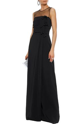 MAX MARA Laringe tulle-paneled knotted cady gown