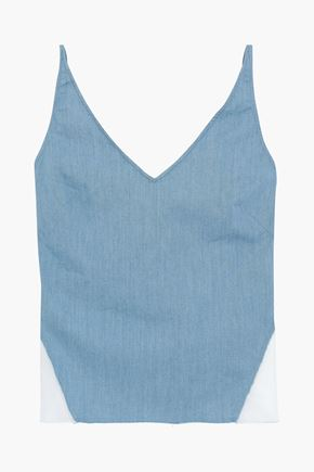 J BRAND Cotton-blend chambray and organza camisole