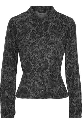 J BRAND Lindsey snake-print washed-silk blouse