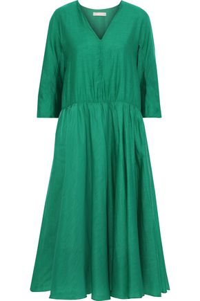 MAX MARA Simeone gathered cotton and silk-blend midi dress