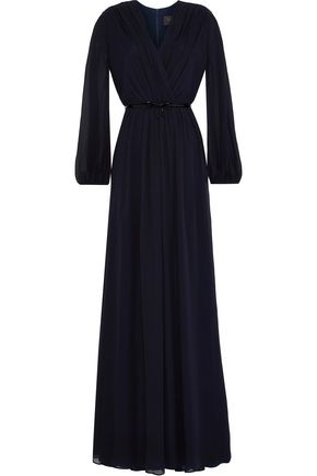 MAX MARA Wrap-effect gathered silk-georgette maxi dress