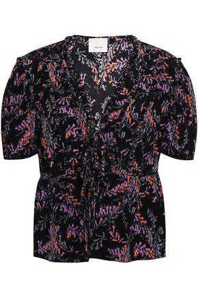 CINQ À SEPT Bow-detailed floral-print silk top