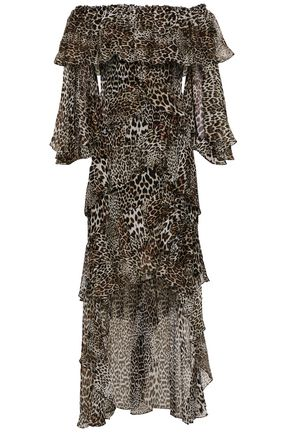 BADGLEY MISCHKA Off-the-shoulder tiered leopard-print silk-chiffon dress