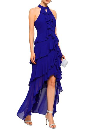BADGLEY MISCHKA Asymmetric tiered ruffled georgette gown