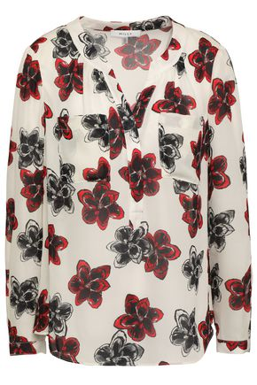 MILLY Floral-print silk blouse