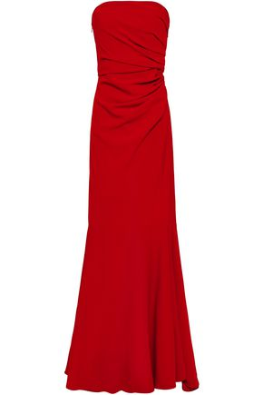 BADGLEY MISCHKA Fluted ruched cady gown