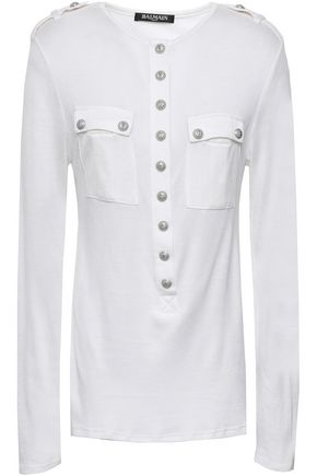BALMAIN Button-detailed wool and silk-blend piqué top
