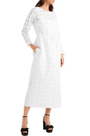 SONIA RYKIEL Broderie anglaise cotton midi dress