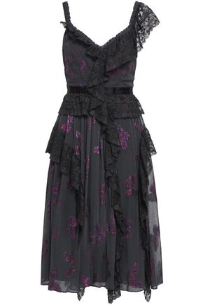 NEEDLE & THREAD Ruffled lace-trimmed metallic fil coupé dress