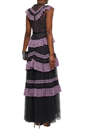 NEEDLE & THREAD Ruffled lace-trimmed embroidered tulle gown