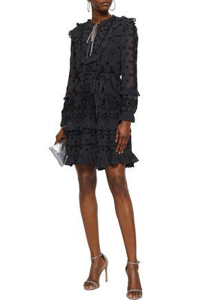 NEEDLE & THREAD Ruffled embroidered georgette mini dress