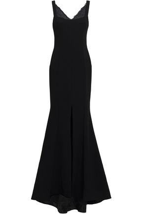REBECCA VALLANCE Fluted corded lace-trimmed crepe gown