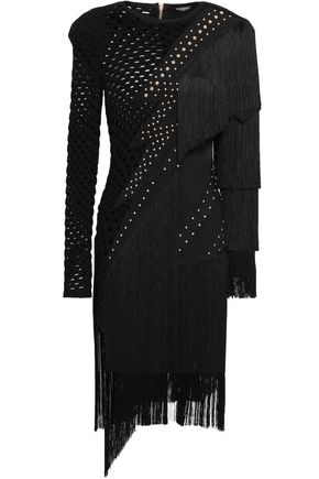 BALMAIN Studded fringed open-knit ponte dress