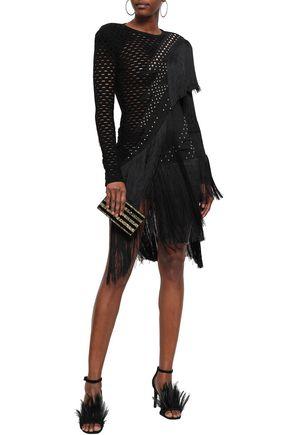 BALMAIN Studded fringed open-knit ponte dress