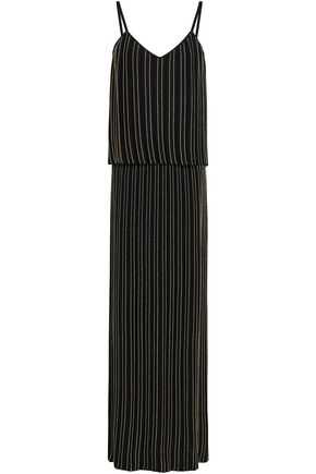 BALMAIN Metallic striped stretch-knit maxi dress