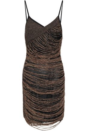 BALMAIN Metallic knitted mini dress