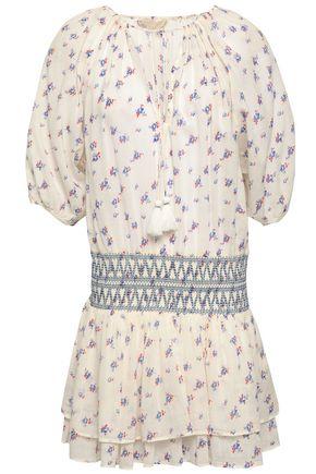 VANESSA BRUNO Shirred floral-print cotton mini dress