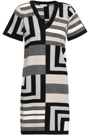 MILLY Intarsia-knit mini dress