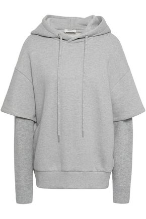 GOEN.J Layered knitted and French cotton-terry hooded sweatshirt