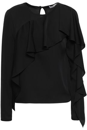 MILLY Ruffled silk-blend crepe de chine blouse