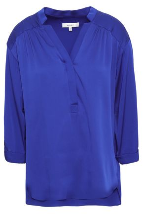 MILLY Stretch-silk blouse