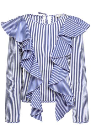MILLY Ruffled striped cotton-poplin blouse