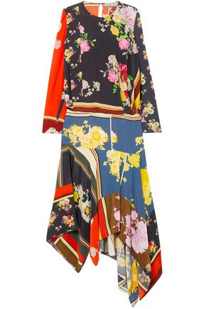 PREEN LINE Kara asymmetric printed crepe de chine midi dress