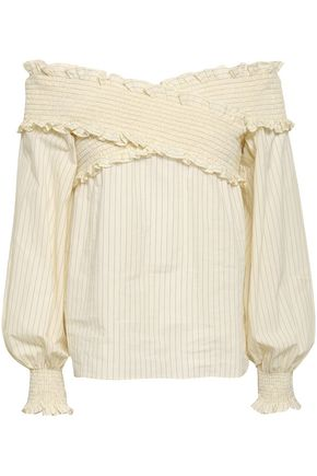 ANNA OCTOBER Off-the-shoulder shirred pinstriped cotton-gauze top
