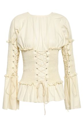 ANNA OCTOBER Lace-up shirred cotton-poplin blouse