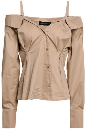 ANNA OCTOBER Cold-shoulder cotton-poplin shirt