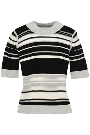MILLY Striped ribbed-knit top